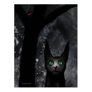 Strange alien cat postcard