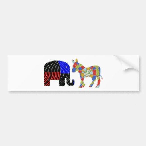 Strange Bed Fellows : POLITICS Elephant n Donkey Bumper Stickers