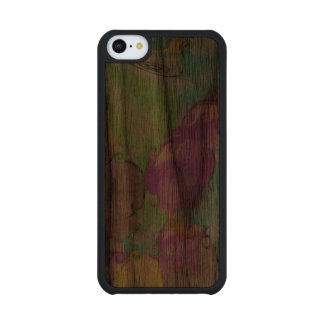 Strange bright colorful abstract pattern walnut iPhone 5C slim case