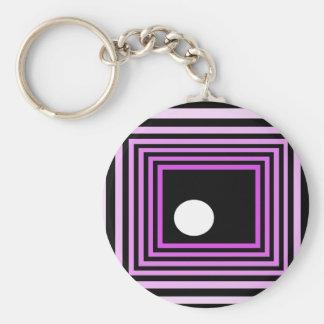 Strange Modern Art Purple Urban Optical Illusion Key Chain