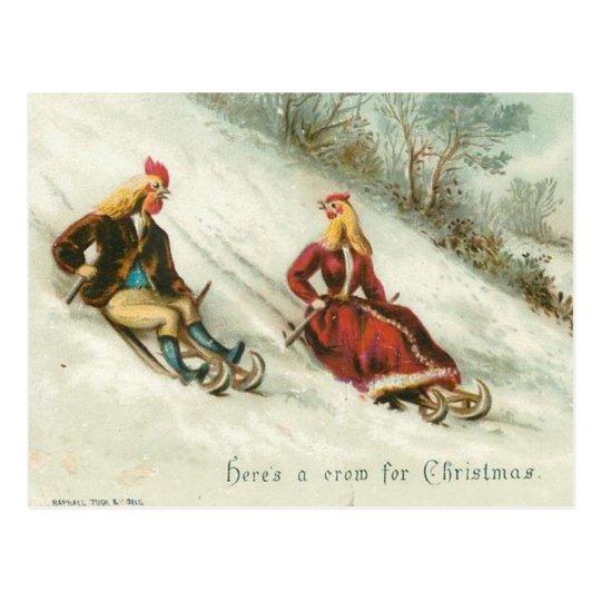 Strange Vintage Chickens Sledding Christmas Postcard