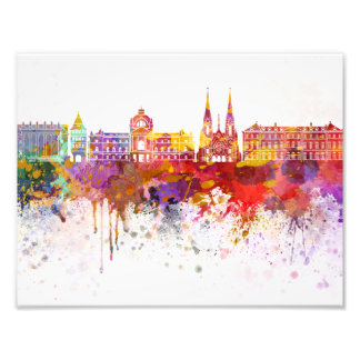 Strasbourg skyline in watercolor background photo print