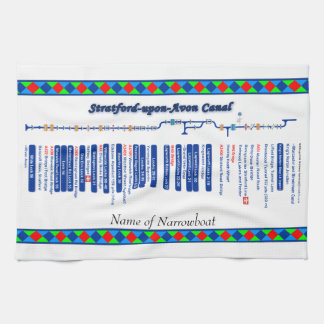 Stratford-upon-Avon Canal Route Map Blue. Kitchen Towel