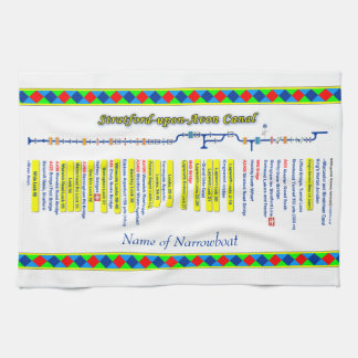 Stratford-upon-Avon Canal Route Map Yellow. Kitchen Towel