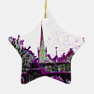 Stratford-upon-Avon England Purple Garden jGibney Ceramic Star Decoration