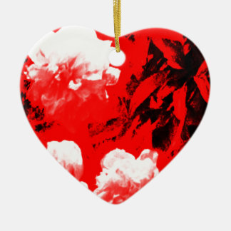 Stratford-upon-Avon White Flowers In The Red jGibn Ceramic Heart Decoration