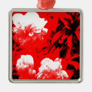 Stratford-upon-Avon White Flowers In The Red jGibn Silver-Colored Square Decoration