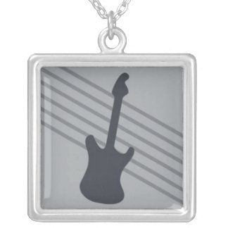 Stratocaster on Grey Stripes Square Pendant Necklace