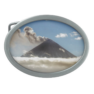 Stratovolcano plume of gas, steam, ash from crater belt buckle