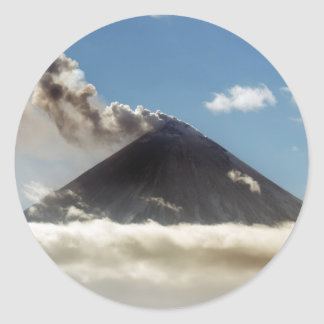 Stratovolcano plume of gas, steam, ash from crater classic round sticker