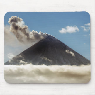Stratovolcano plume of gas, steam, ash from crater mouse mat