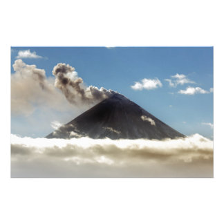 Stratovolcano plume of gas, steam, ash from crater stationery design