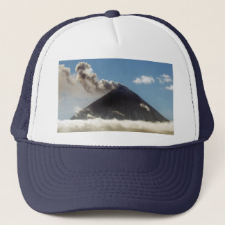 Stratovolcano plume of gas, steam, ash from crater trucker hat