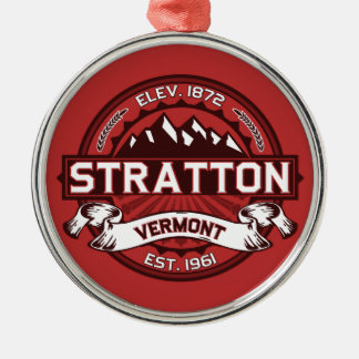 Stratton Red Silver-Colored Round Decoration