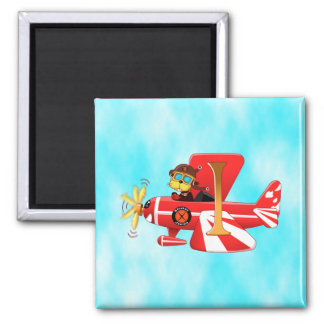 Stratus Janice Flying w/ clouds Square Magnet