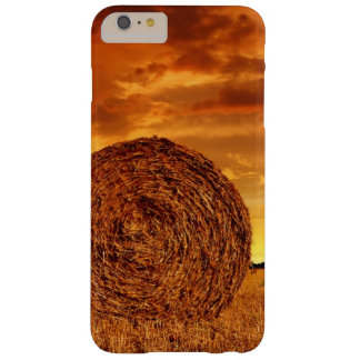 Straw bales on farmland with red cloudy sky barely there iPhone 6 plus case