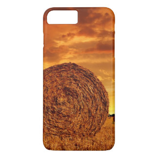 Straw bales on farmland with red cloudy sky iPhone 8 plus/7 plus case