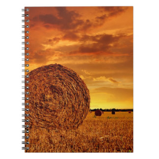 Straw bales on farmland with red cloudy sky notebook
