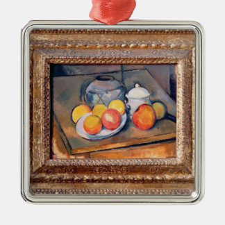 Straw-covered vase, sugar bowl and apples Silver-Colored square decoration