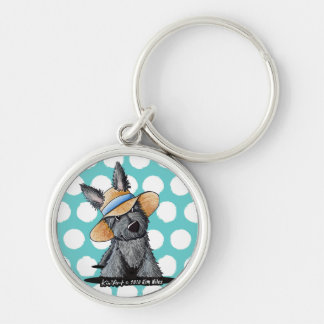 Straw Hat Scottie Dog Silver-Colored Round Key Ring