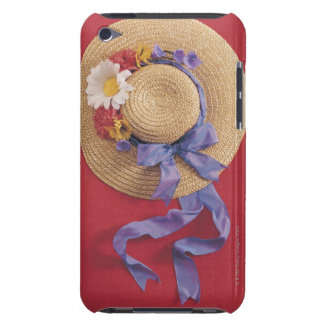 Straw hat with paper flowers and bow iPod touch cover