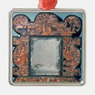 Straw-work mirror frame, 1670-80 Silver-Colored square decoration
