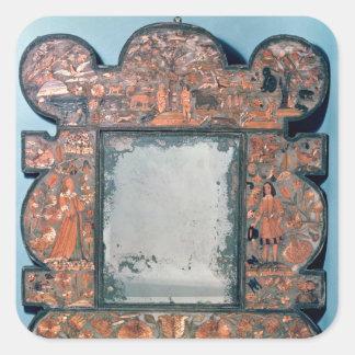 Straw-work mirror frame, 1670-80 square sticker