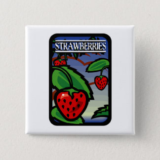 Strawberries 15 Cm Square Badge