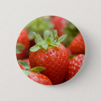 Strawberries 6 6 cm round badge