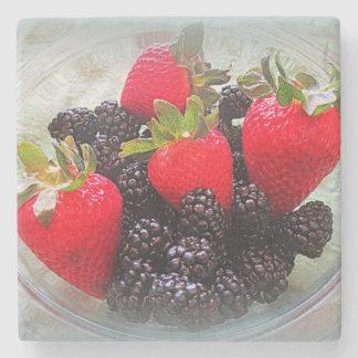 Strawberries And Blackberries Stone Coaster