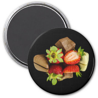 Strawberries and Chocolate Round Magnet