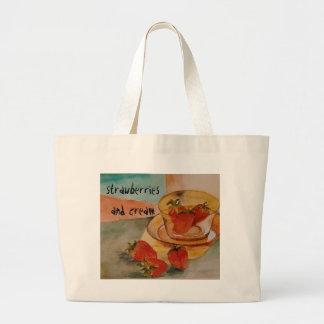 strawberries and cream large tote bag
