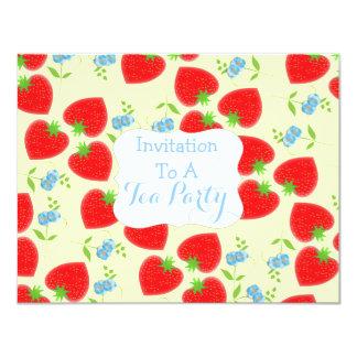 Strawberries and Cream Tea Party Theme 11 Cm X 14 Cm Invitation Card