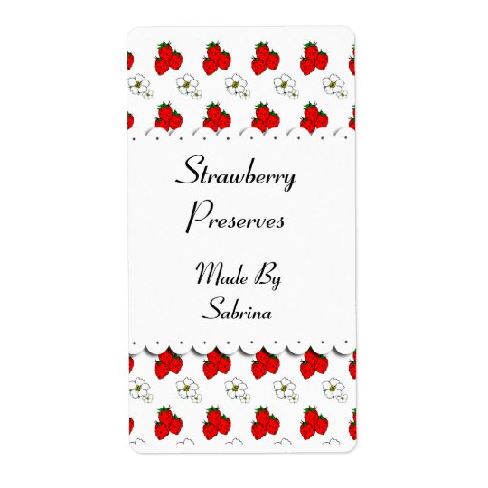 Strawberries and Flowers Custom Label Shipping Label