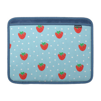 Strawberries and Polka Dots Blue MacBook Sleeves