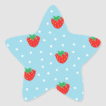 Strawberries and Polka Dots Blue Star Sticker