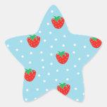 Strawberries and Polka Dots Blue Star Sticker