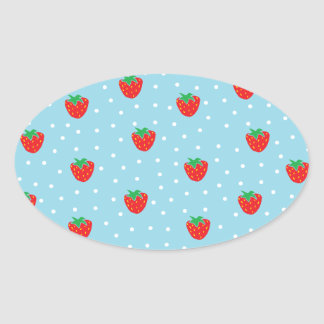 Strawberries and Polka Dots Blue Oval Stickers