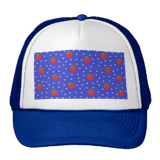 Strawberries and Polka Dots Dark Blue Cap