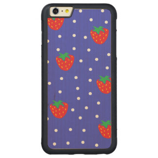 Strawberries and Polka Dots Dark Blue Carved Maple iPhone 6 Plus Bumper Case
