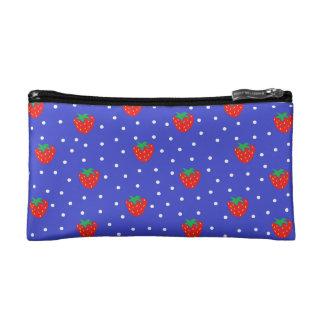 Strawberries and Polka Dots Dark Blue Makeup Bag