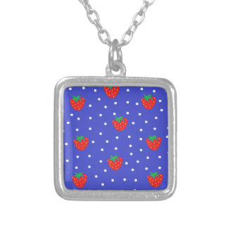 Strawberries and Polka Dots Dark Blue Personalized Necklace