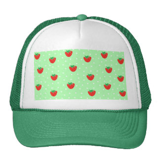 Strawberries and Polka Dots Mint Green Cap