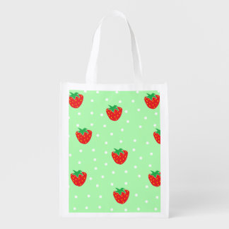Strawberries and Polka Dots Mint Green Reusable Grocery Bag