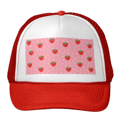 Strawberries and Polka Dots Pink Mesh Hats