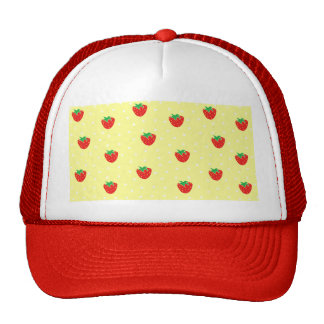 Strawberries and Polka Dots Yellow Hat