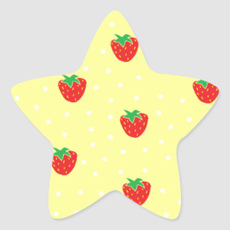 Strawberries and Polka Dots Yellow Star Sticker