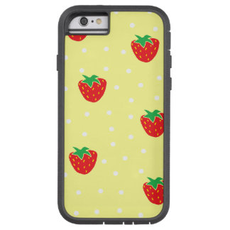 Strawberries and Polka Dots Yellow Tough Xtreme iPhone 6 Case