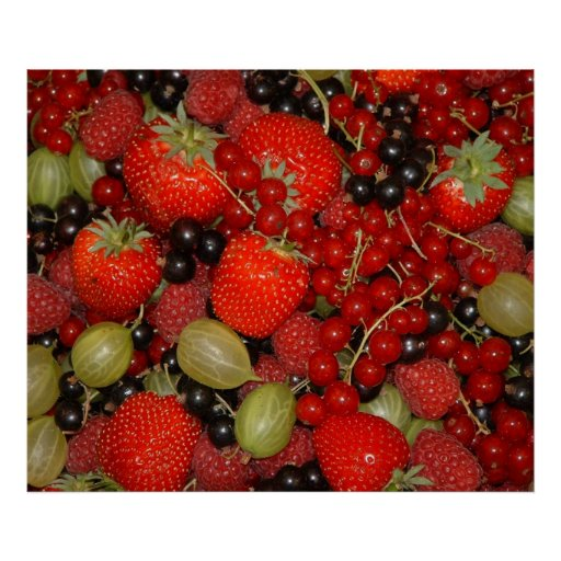 Strawberries and summer fruits poster
