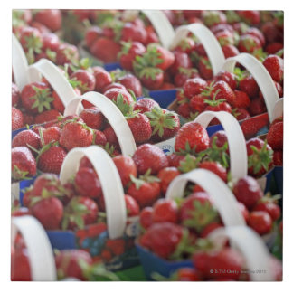 Strawberries at a market stall tile